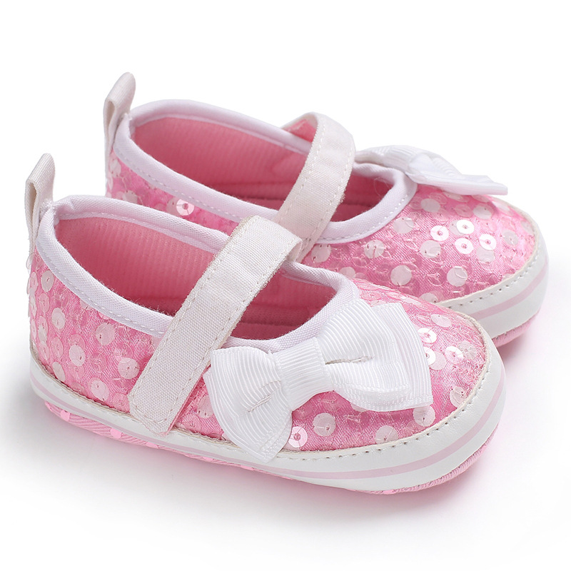 Bows Shining Baby Shoes First Walkers Soft Sole Newborn Toddler Shoes Non-Slip Infant Baby Girl Shoes Schoenen Slofjes