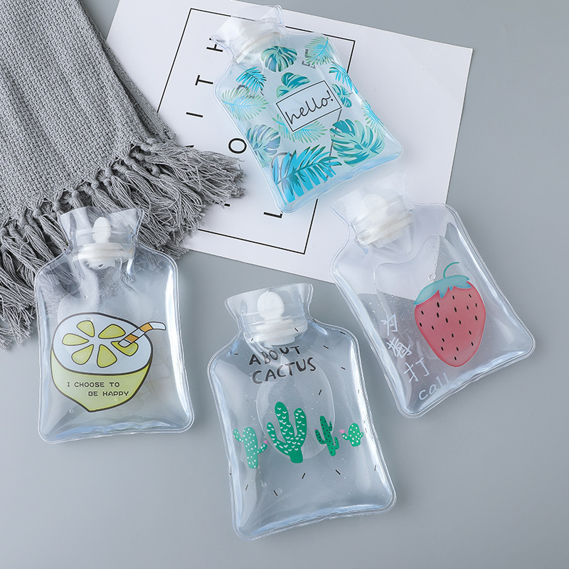 Cartoon Fruit Hot Water Bottle PE Ice Pack Transparent Insulated Cooler Bags Student Portable Mini Water Heating Hand Treasure