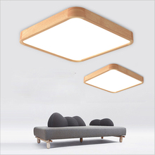 Solid wood LED ceiling light modern light board living room square lamp bedroom kitchen hall surface installation