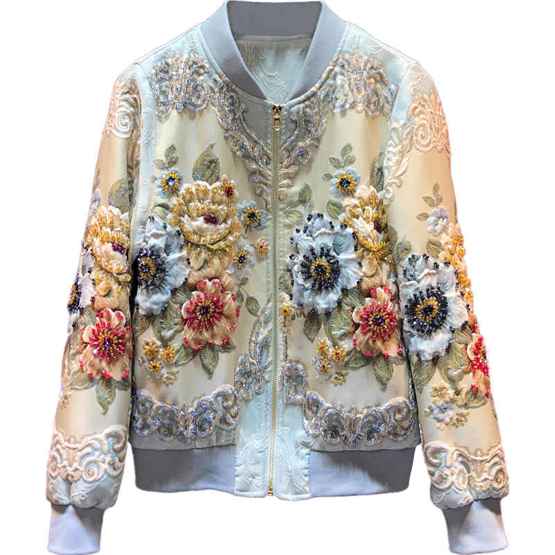 2019 New Designer Custom Made Autumn Winter Outwear Jackets Women's Vintage Gold Line Jacquard Beading luxury Tops Coat Jackets