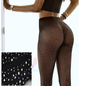 Women Stocking Rhinestone Collant Femme Lenceria Diamond Sexy Tights Transparent Fishnet Stockings Pantyhose Diamond Party SW065