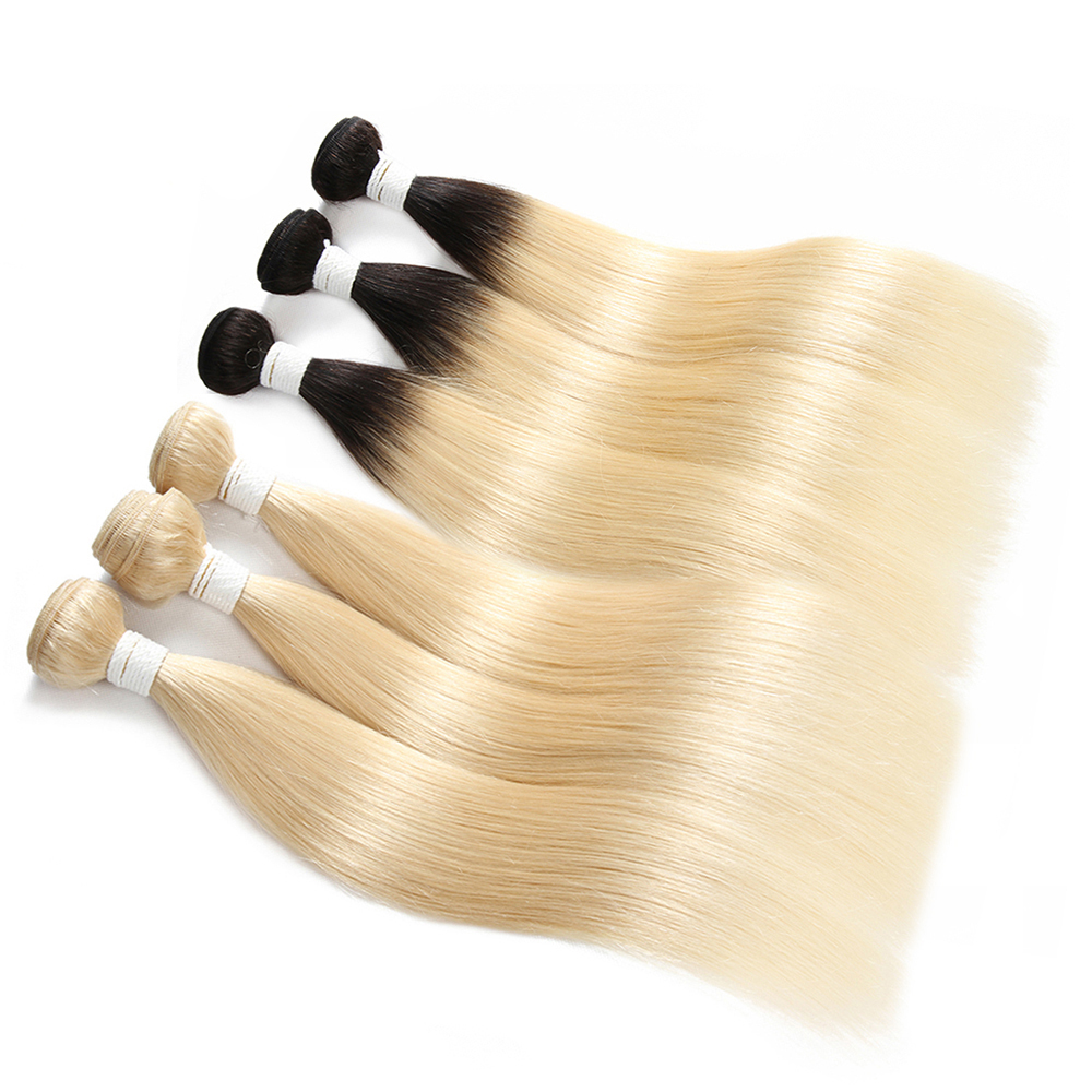 Image 3 - 1B 613 Bundles With Frontal Euphoria Brazilian Straight Remy Human Hair 3 Bundles With Platinum Blonde Lace Frontal Closure 13x4-in 3/4 Bundles with Closure from Hair Extensions & Wigs