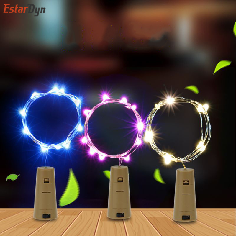 2M String Led Wine Bottle With Cork 20 LED Bottle Lights Battery Cork For Party Wedding Christmas Halloween Bar Decor Warm White