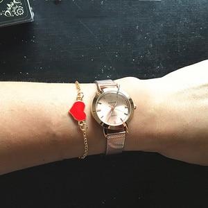 Image 2 - Часы WWOOR Женские Кварцевые водонепроницаемые, брендовые модные золотистые, с браслетом из нержавеющей стали