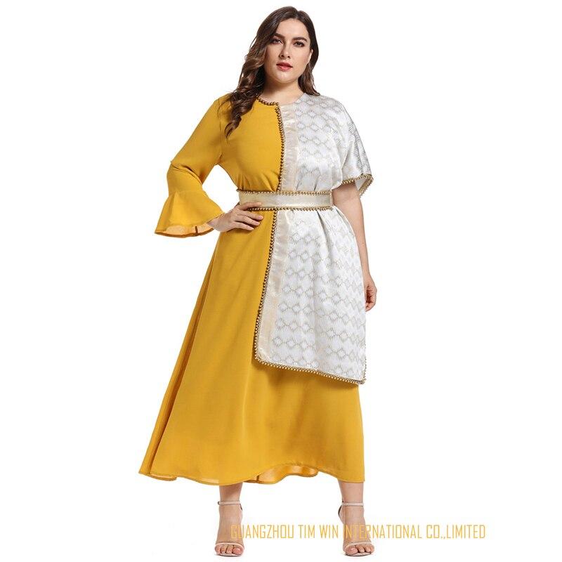 Vestidos женское платье большого размера желтое платье трапециевидной формы с круглым вырезом лоскутное кимоно рукав Модное платье Бандажное платье 2019 Toleen бренд