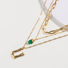 цены на Charm Natural Green Stone Multilayer Pendant Necklace Letter  Necklace Chain for Women Bohemia Contracted Necklace Jewelry в интернет-магазинах