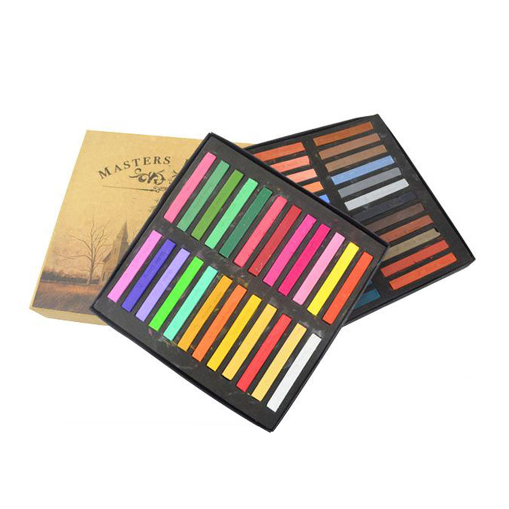 12/24/36/48 Colors Students Lower Adhesion Solid Powder Smooth Easy Use Stick Toner Painting Chalk Set Soft Pastel Hair Dye