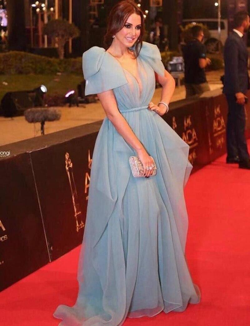 Elegant Muslim   Evening     Dresses   2019 A-line Deep V-neck Tulle Dubai Saudi Arabic Long   Evening   Gown Prom
