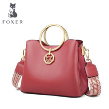 FOXER Lady Round Large Capacity Fall Winter Bag Stylish Designer Cowhide Leather Handbag For Women Elegant Wide Strap Brand Bags(China)