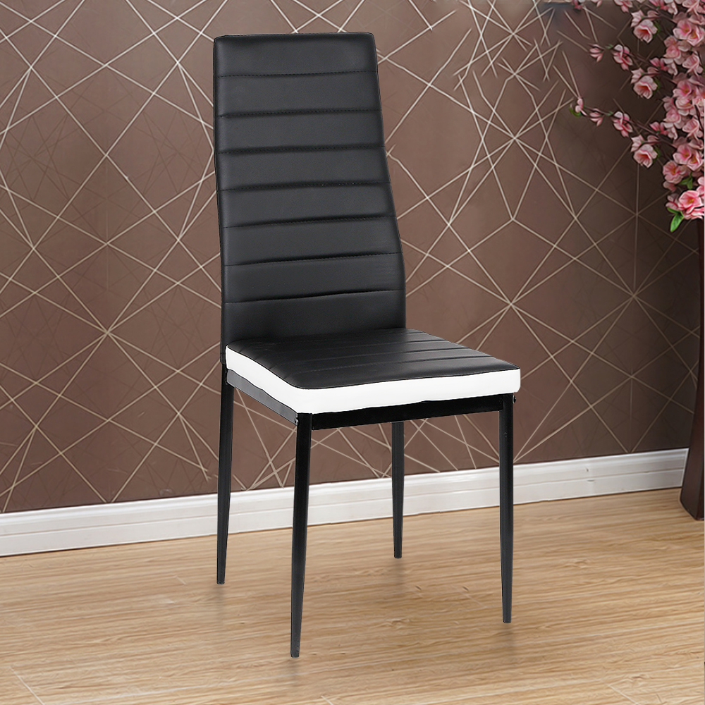 2PCS/SET Modern Dinning Chairs Dinning Stool High Backrest Faux Leather Metal Leg Padded Seat Chair Dinning Room Furniture HWC