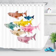 Colorful shark Shower Curtains Cartoon Design Marine Life Waterproof Polyester Fabric Shower Curtain Kids Bathroom Decoration