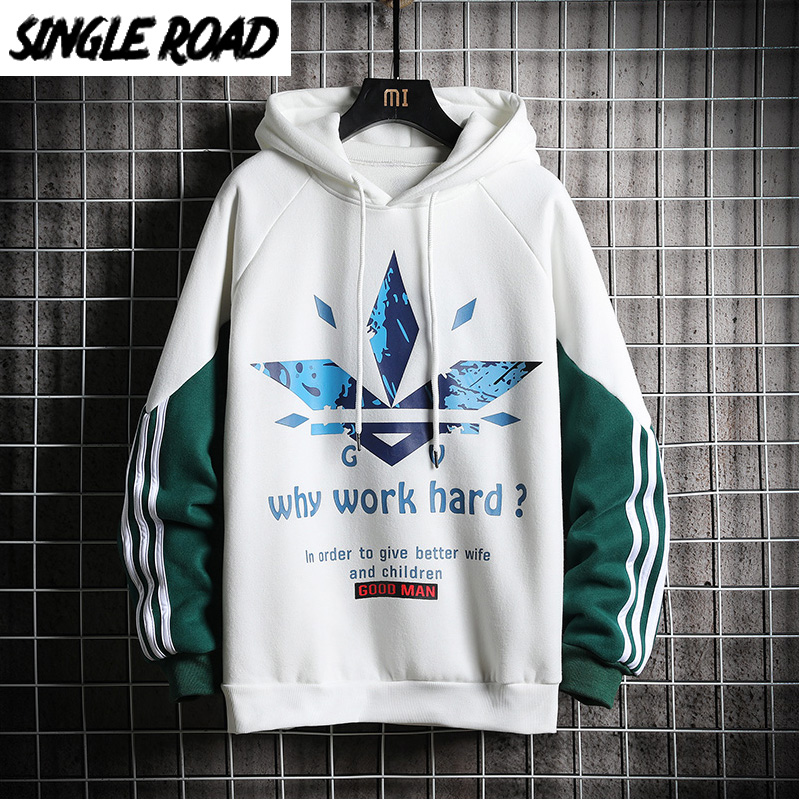 SingleRoad Men's Hoodies Men 2020 Spring Side Striped Oversized Sweatshirt Male Hip Hop Japanese Streetwear White Hoodie Men