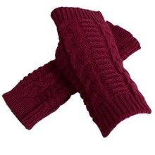 Winter Warm Knitted Fingerless Gloves Crochet Thumbhole Half Finger Arm Warmers F3MD
