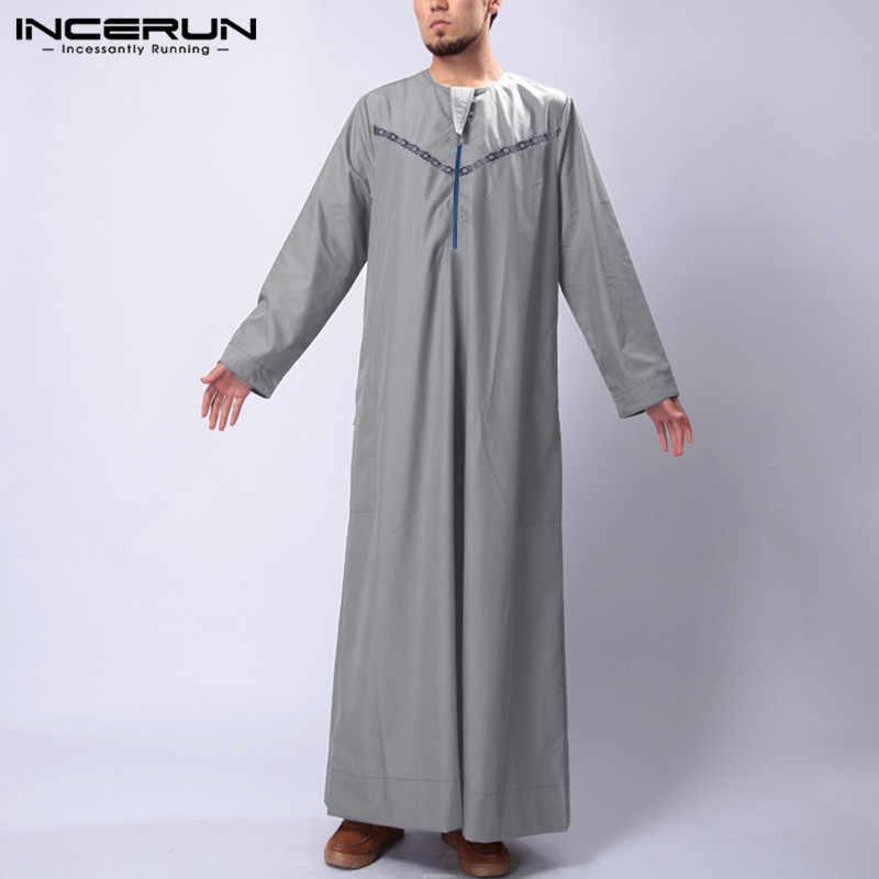 INCERUN Mode Männer Islamische Kaftan Gedruckt Arabischen Muslimischen Kleidung O Neck Langarm Lose Roben Saudi-arabien Männer Jubba Thobe S-5XL