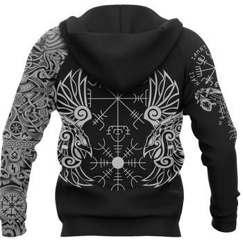 Vikings Hoodie Huginn and Muninn The Odin Raven 3D Printed Mens hoodies Harajuku Streetwear Pullover Unisex Casual Jacket DW0156 2