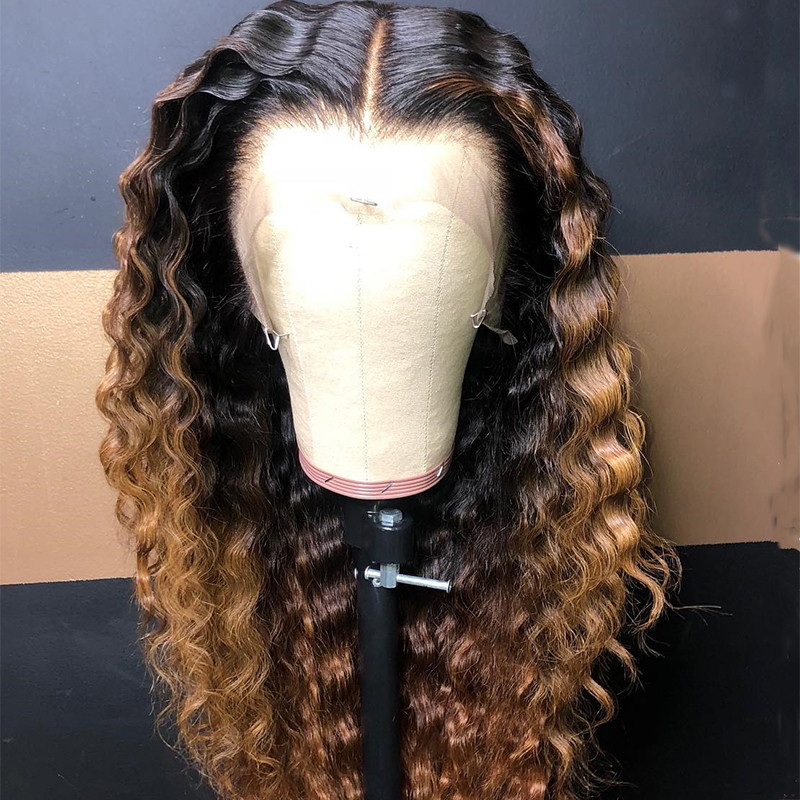 Ombre Brown Color Wave  Lace Part Human Hair Wigs With Baby Hair Pre Plucked Remy Brazilian Lace Wigs Bleached Knots