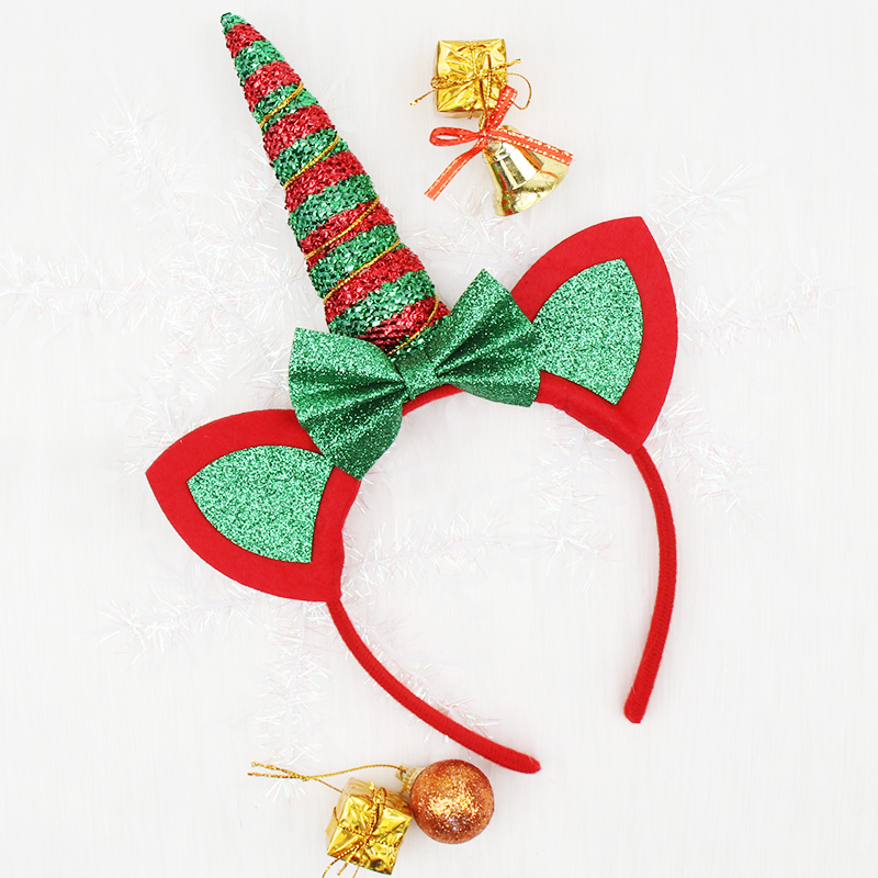 1PC Headband For Girls Red Green Glitter Unicorn Horn Hairband With Ears Hair Bows Christmas Hair Hoop Kids Hair Accessories
