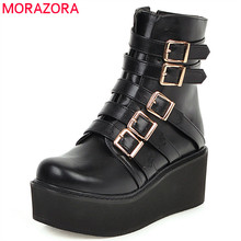 MORAZORA 2020 ใหม่มาถึงผู้หญิงรองเท้าบูทรอบToeข้อเท้าBUCKLEหนารองเท้าส้นสูงรองเท้าแฟชั่นPunk Cool Casualรองเท้าผู้หญิง