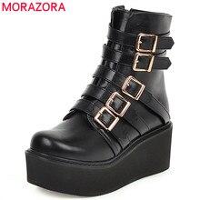 MORAZORA botas para mujer con plataforma tacón grueso y hebilla punta redonda, botines informales, calzado moderno, punk, 2020