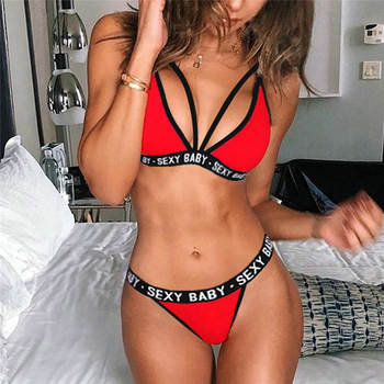 2021 New Women's Sexy Sports Underwear Set Girl Sexy Bandage Corset Letter Push Up Bra+Thongs Panties Lingerie Summer Style