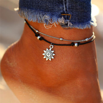 IF ME Bohemian Layer Chain Moon Sun Bracelet on Leg Anklets for Women Vintage Silver Adjustable Metal Anklet Beach Jewelry New 2