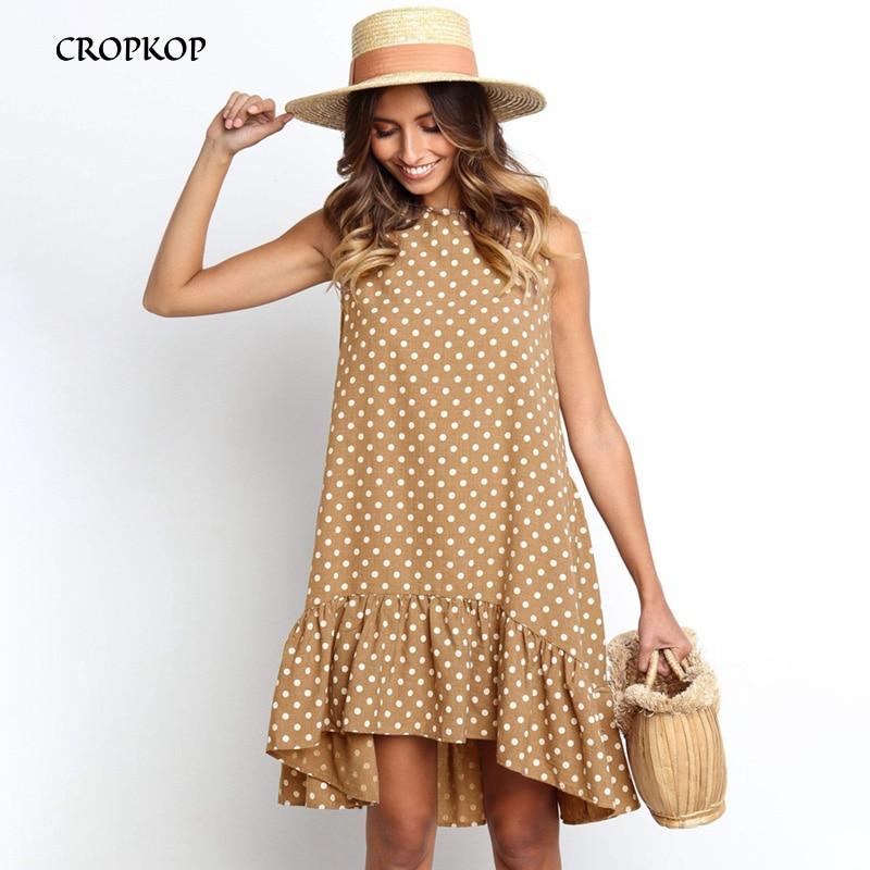 Women Summer Dress Fashion Polka Dot Sleeveless Beach Mini Dress For Women Casual Print Short Loose Blue Sundress 2020 Plus Size