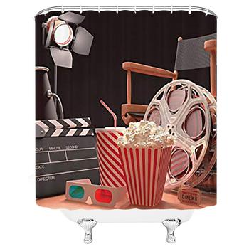 Movie Theater Shower Curtain, Objects of The Film Industry Hollywood Motion Picture Cinematography Concept, Cloth Fabric image