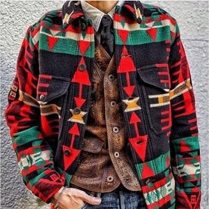 Fashion Men Jacket Ethnic Style Print Long Sleeve Jacket Casual Trend Autumn Winter Male Warm Fashion Overcoats Streetwear