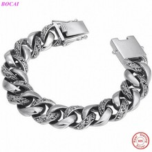 BOCAI S925 Sterling Silver bracelet  Fashion hegemony Exaggeration Mens Bracelet Individual Thai Silver Rough Bracelet for men