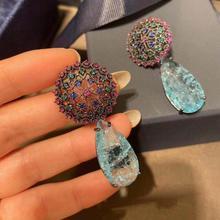 Bilincolor moda mavi kırık kübik zirkonya lüks zarif damla gelin küpe kadınlar için Vintgage çiçek düğün takısı