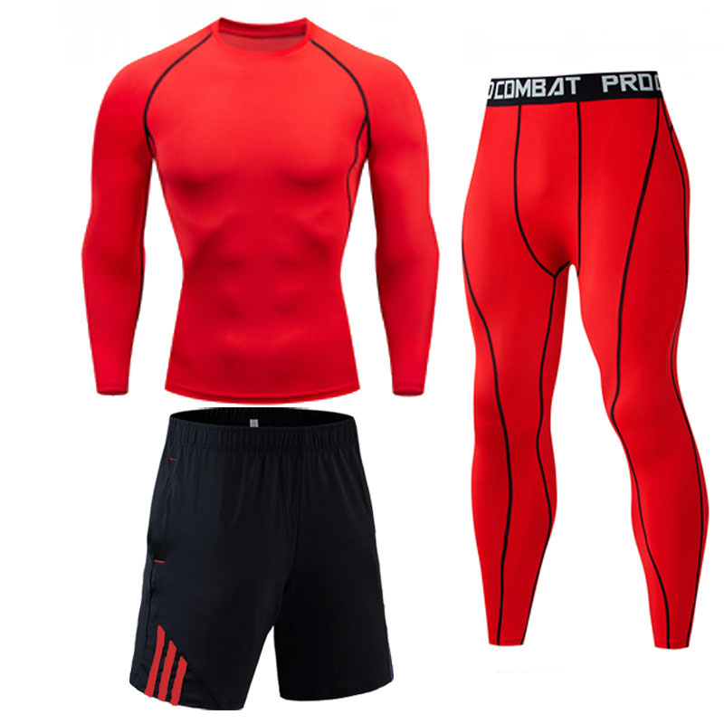 MMA Compression Set Long Sleeve Men Crossfit Autumn And Winter Running Tops Tees Solid Color Bodybuilding Long Sleeve T-shirt