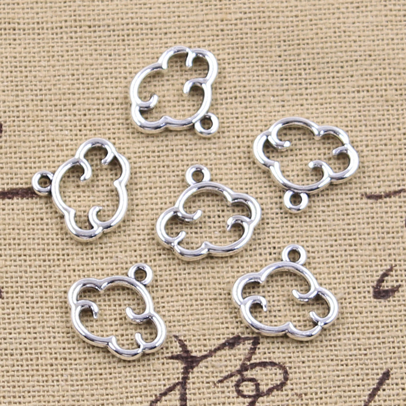 30pcs Charms floating clouds 13x15mm Antique Silver Color Pendants Making DIY Handmade Tibetan Finding Jewelry 2