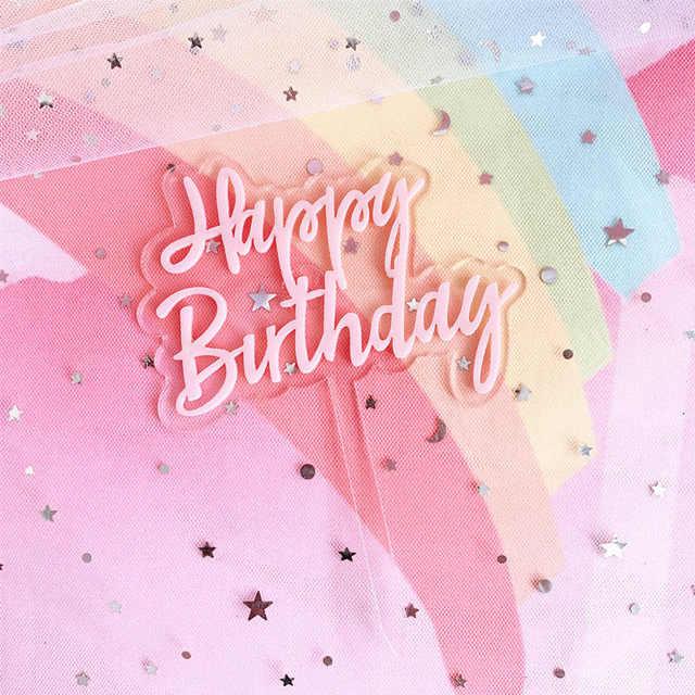 Ins feliz aniversário acrílico bolo de enfeite, círculo rosa de casamento, camada dupla, cupcake, decorações para festa de aniversário, bolo, chuveiro de bebê