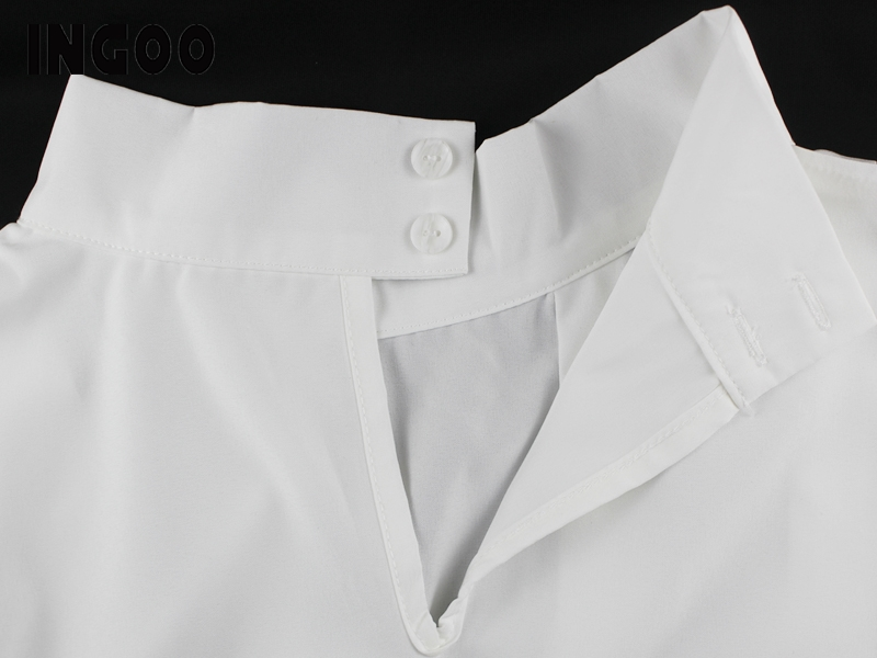 H43c3bdf1e0be4114bea9f3dd28c6e0aeM - INGOO Autumn Turtleneck Office Women Shirt Lantern Long Sleeve Ruched Pleated Blouses Button Elegant Blue White Shirts Female