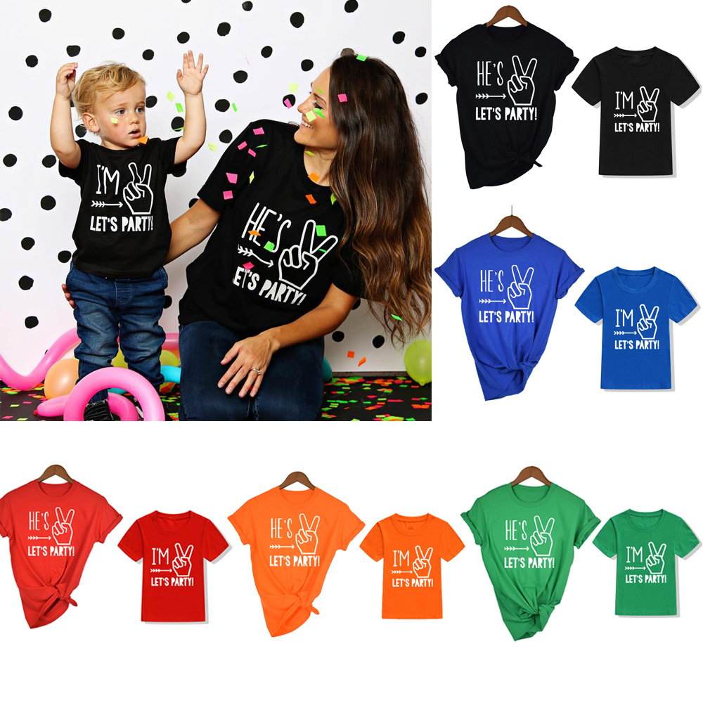 Im Two Lets Party Two Year Old Birthday Shirt Boy 2nd Birthday Boy Shirt Mother And Son Party Clothes Family Look Tops Tee