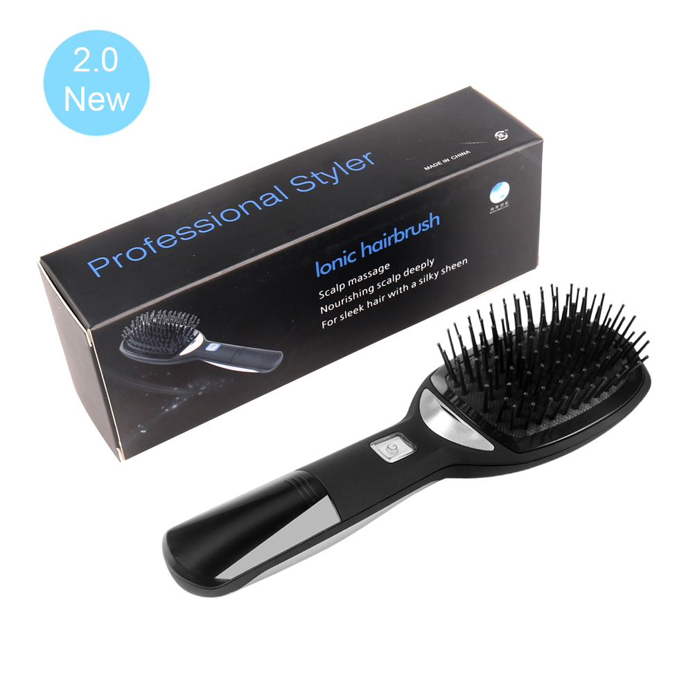 2.0 Ionic Electric Hairbrush Portable Ionic Hair Comb Strong Negative Ion Release Straighting Hair Anti-static Magic Hair Brush