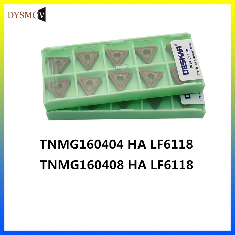 10PCS DESKAR TNMG160404 HA LF6118 Desktop Hard Alloy Carbide Turning Inserts TNMG160408 Lathe Tool Cutter For Stainless Steel