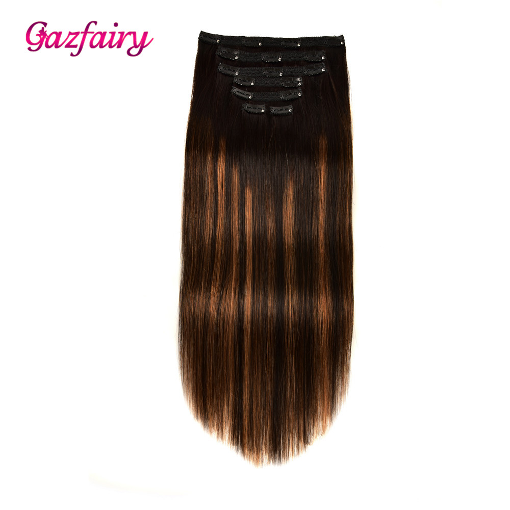 Gazfairy Real Remy Hair Clip In Human Hair Extensions Double Weft Straight Style 14'' 120g 7Pcs/Set 16 Clips Full Head For Women