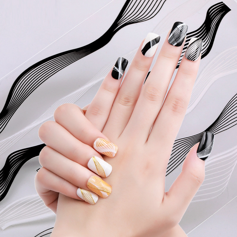Cross Border For Hot Selling Nail Sticker Gum 3D Gold Adhesive Paper Bronze Hollow Out Nail Stereo Flower Stickers Accessories