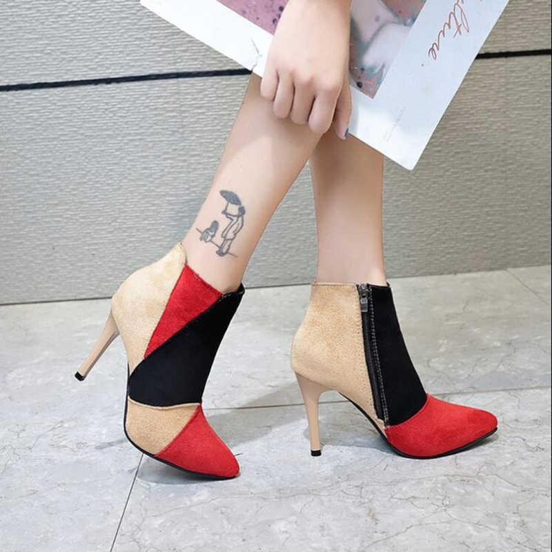 Kış çizmeler ayak bileği çizmeler kadın ayakkabıları kadın botları moda yüksek topuklu akın sivri kısa çizmeler 2019 kış kısa kürk sıcak botlar