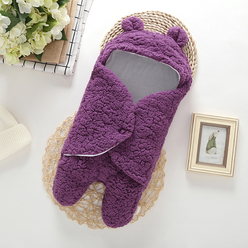 0-12M Autumn Baby Sleeping Bag Envelope For Newborn Bubble Velvet Baby Winter Blanket Wrap Cute Sleeping Bags Solid Baby Bedding