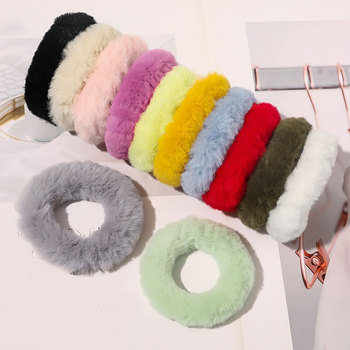 Korea Faux Fur Scrunchies Plush Hair Ring Candy Color Hair Accessories For Women Hair Ties Rubber Band Fluffy Seamless Hair Rope image