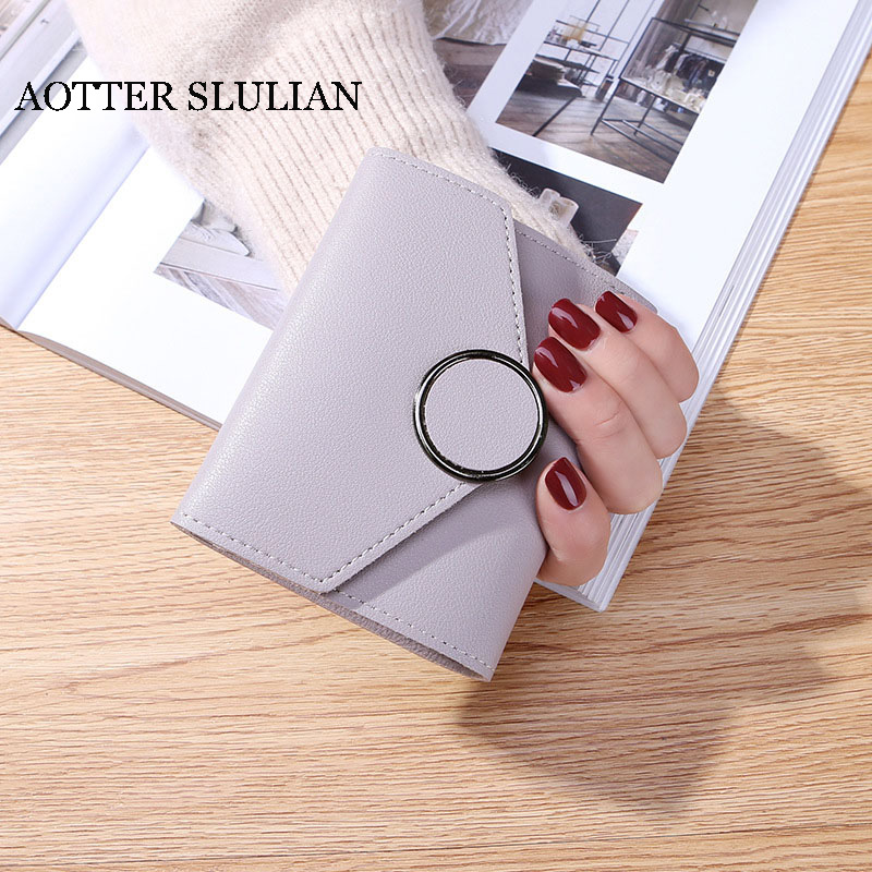 AOTTER SLULIAN модный короткий кошелек с застежкой маленький клатч с пряжкой держатель для карт кошелек для монет многофункциональные милые