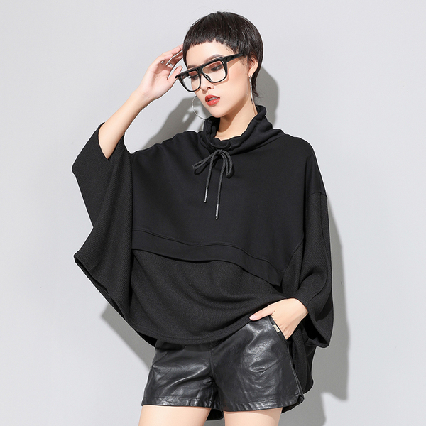 Women Black Patchwork  T Shirt Batwing Sleeve Autumn Hooded Three Quarter Sleeve Casual Clothe Poncho  ZQ013