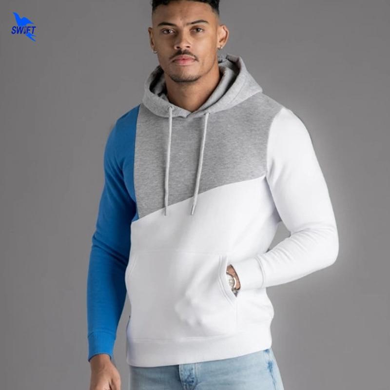 2019 Men Quick Dry Elastic Running Hoodie Gym Sport Training Fitness Sweatshirt Outdoor Sportswear Male Hooded Jacket Patchwork