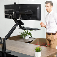 NB FC24 2A Gas Strut 19 24 Ergonomics Double LCD Monitor Mount stand Sit Stand Workstation with Keyboard Tray lifting desk