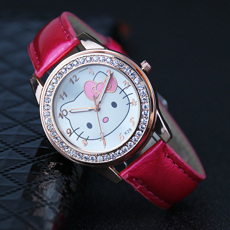 High Quality 2019 New Relojes Children's Watch Girl Kids Watches Cute Cartoon Diamond  Leather Student Boy's And Girl's  Watch