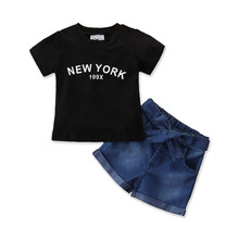 2020 Fashion Summer Toddler Kids Baby Girl Clothes Set New York Tops T-shirt Denim Pants Shorts Outfits 2Pcs Sets 1-6Years toddler girl outfits 2018 striped patchwork t shirt tops denim pants clothes kids 2 pcs autumn suits children outfits clothing