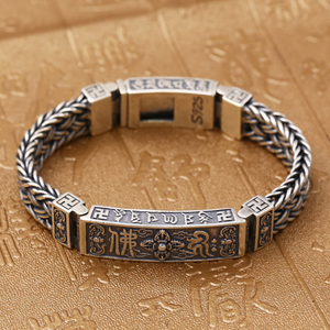 Image 2 - Pure Silver Sterling 925 Solid Silver Religious Buddha Lection Braided Lock S925 Bangle Bracelet (HY3A)