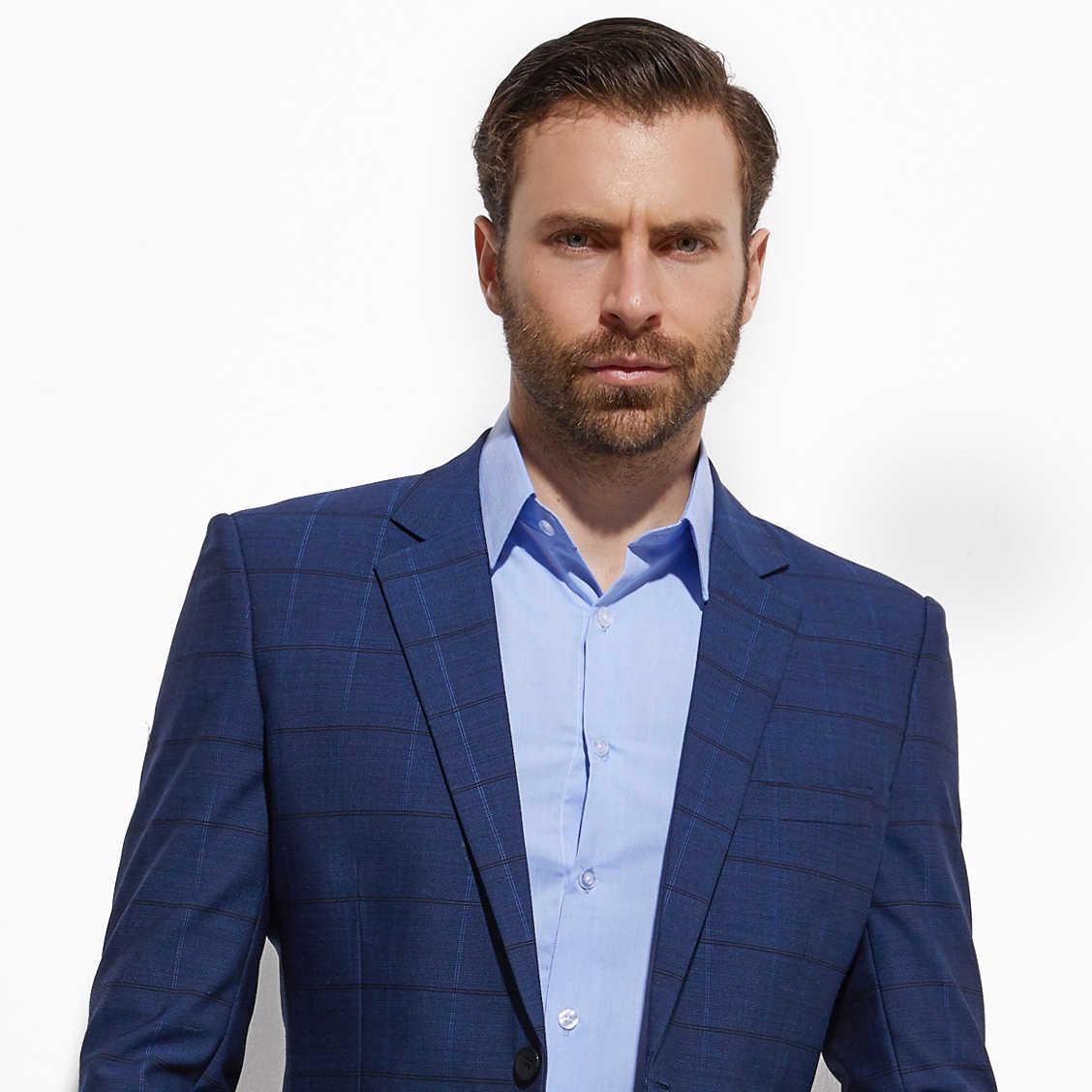 2020 Fashion Smart Casual Donkerblauw Plaid Pak Custom Made Slim Fit Donkerblauwe Ruit Pakken Met Nailhead Patroon